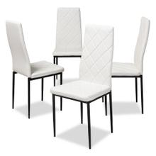 View Product - Baxton Studio Blaise Modern and Contemporary White Faux Leather Upholstered Dining Chair (Set of 4)