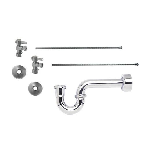 "Mountain Plumbing - Lavatory Supply Kit w/ 1-1/4"" P-Trap - Angle - Mini Lever Handle with 1/4 Turn Ball Valve - Lead Free - Satin Chrome"