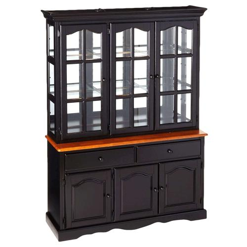 Product Image - Treasure Buffet and Lighted Hutch - Antique Black and Cherry