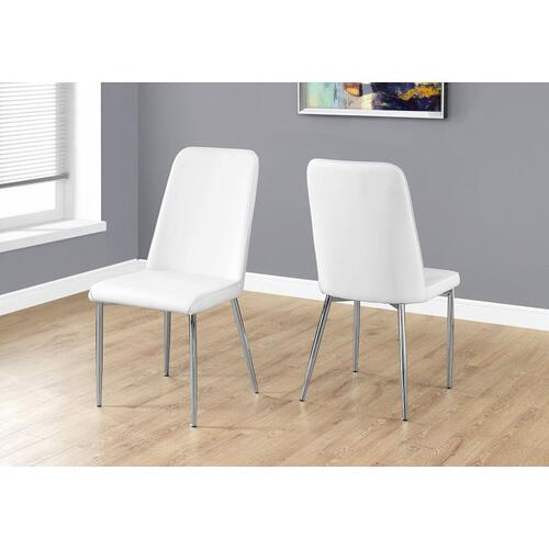 "DINING CHAIR - 2PCS / 37""H / WHITE LEATHER-LOOK / CHROME"