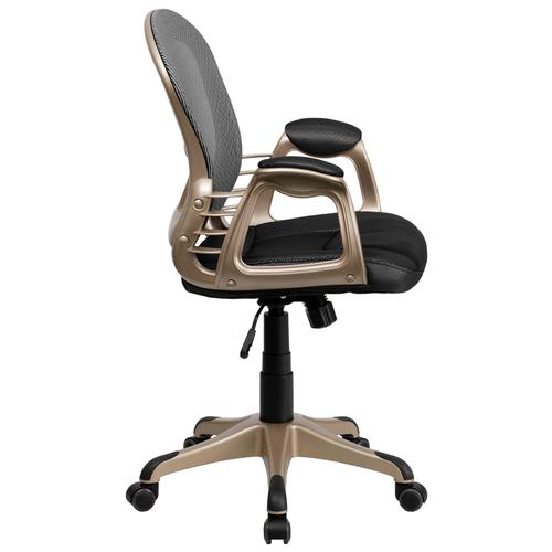 Mid-Back Black & Gray Mesh Office Chair with Designer Arms