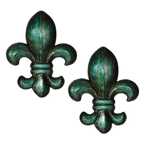 Crestview Collections - Antiqued Turquoise Fleur de Lis