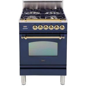 Nostalgie 24 Inch Gas Natural Gas Freestanding Range in Blue with Brass Trim
