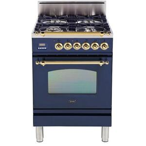 Ilve - Nostalgie 24 Inch Gas Natural Gas Freestanding Range in Blue with Brass Trim