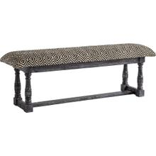 Denison 55L x 14.5W Black Beige Woven Cushion Top W Black Wood Base Accent Bench