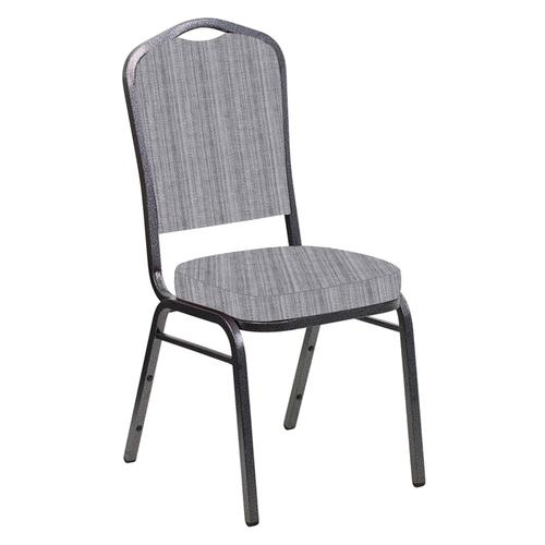 Crown Back Banquet Chair in Sammie Joe Aluminum Fabric - Silver Vein Frame
