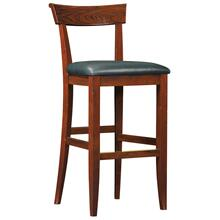 Bar Stool Upholstered Back Seat Height 30, Cherry Fleming Stool