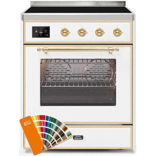 Ilve - Majestic II 30 Inch Electric Freestanding Range in Custom RAL Color with Brass Trim
