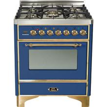 Majestic 30 Inch Dual Fuel Natural Gas Freestanding Range in Blue with Trim