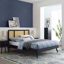 Kelsea Cane and Wood Full Platform Bed With Splayed Legs in Black