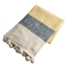Color Block Slub Woven Throw with Pom Poms