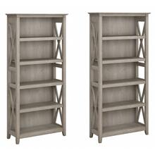 Key West 5 Shelf Bookcase Set - Washed Gray