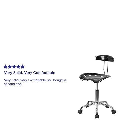 Flash Furniture - Vibrant Black and Chrome Swivel Task Office Chair with Tractor Seat