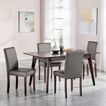 Prosper 5 Piece Faux Leather Dining Set in Cappuccino Gray
