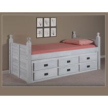 Full Panel Post Captain Bed w/Six-Drawer Unit, EX91 & Queen Rails