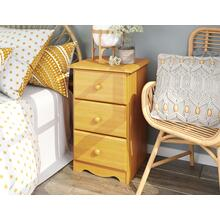 See Details - 5524 - 100% Solid Wood 3-Drawer Night Stand, Honey Pine