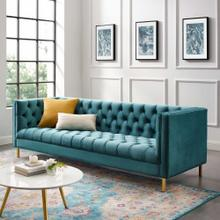 Delight Tufted Button Performance Velvet Sofa in Sea Blue