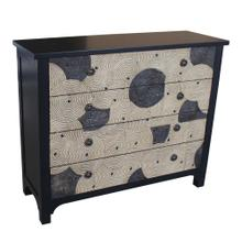 Halstead 4 Drawer Black and Swirl Pattern Chest