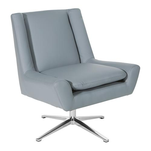 Faux Leather Guest Chair In Charcoal Grey Faux Leather and Aluminum Base