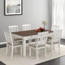 Highlands 7pc Dining Set, White/White