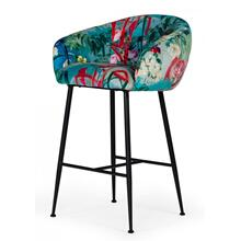 Modrest Roxann - Contemporary Floral Velvet Bar Stool