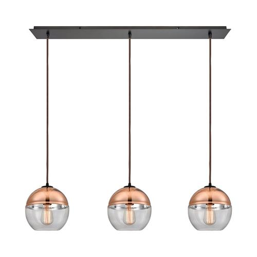 Revelo 3-Light Linear Mini Pendant Fixture in Oil Rubbed Bronze with Clear and Copper-plated Glass