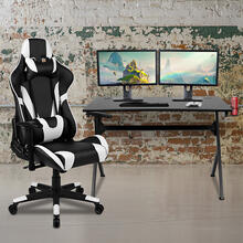 See Details - Black Gaming Desk and Black Reclining Gaming Chair Set with Cup Holder, Headphone Hook & 2 Wire Management Holes
