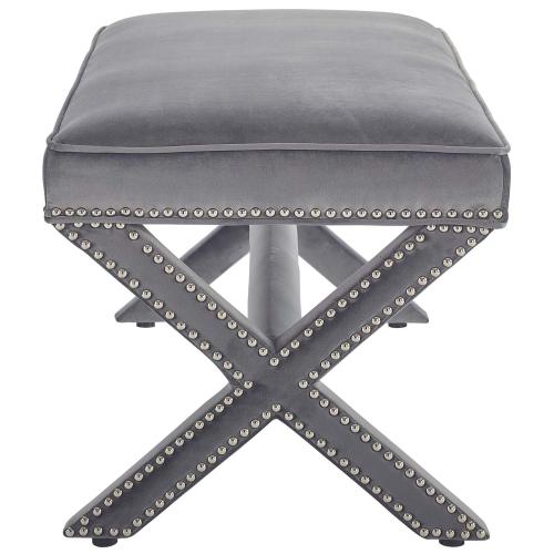 Modway - Rivet Performance Velvet Bench in Gray