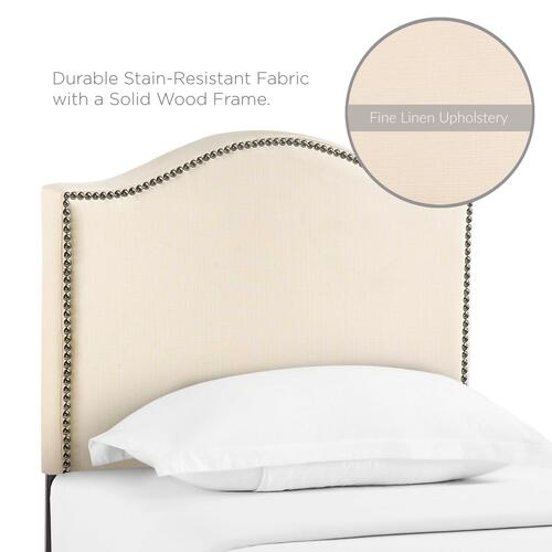 Curl Twin Nailhead Upholstered Headboard in Ivory