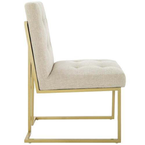 Privy Gold Stainless Steel Upholstered Fabric Dining Accent Chair in Gold Beige