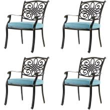 Hanover Set of 4 Traditions Aluminum Outdoor Dining Chairs with Blue Seat Cushions, AAF06000F02-4
