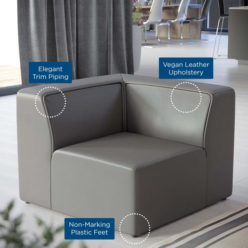 Modway - Mingle Vegan Leather Corner Chair in Gray