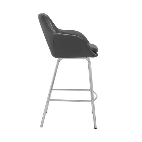 """Armen Living - Aura Grey Faux Leather and Brushed Stainless Steel Swivel 26"""" Counter Stool"""