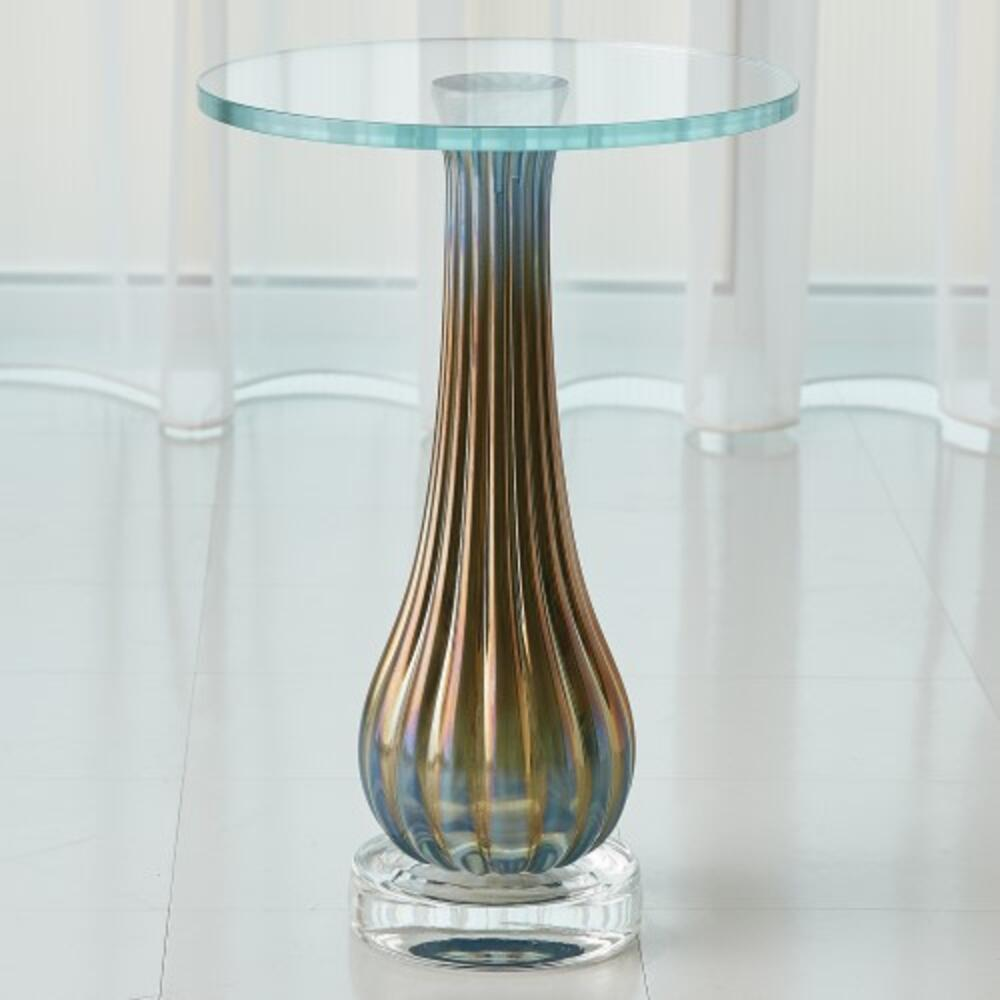 Irys Blue Ribbed Accent Table