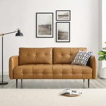 Cameron Tufted Vegan Leather Sofa in Tan