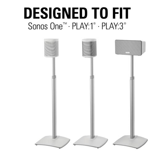 White Adjustable Height Wireless Speaker Stands designed for SONOS ONE, Sonos One SL, Play:1, and Play:3 - Pair