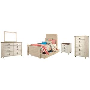 Twin Panel Bed With 1 Storage Drawer With Mirrored Dresser, Chest and Nightstand