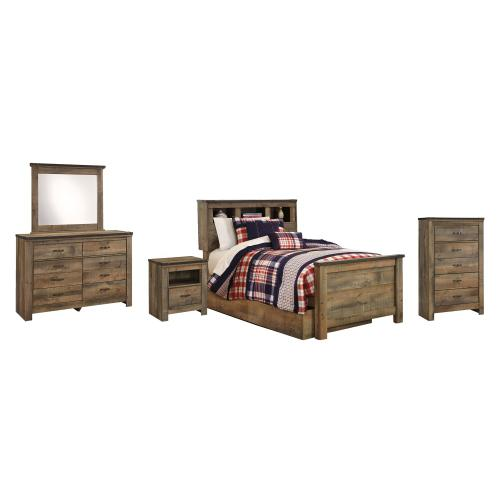 Twin Bookcase Bed With 1 Storage Drawer With Mirrored Dresser, Chest and Nightstand