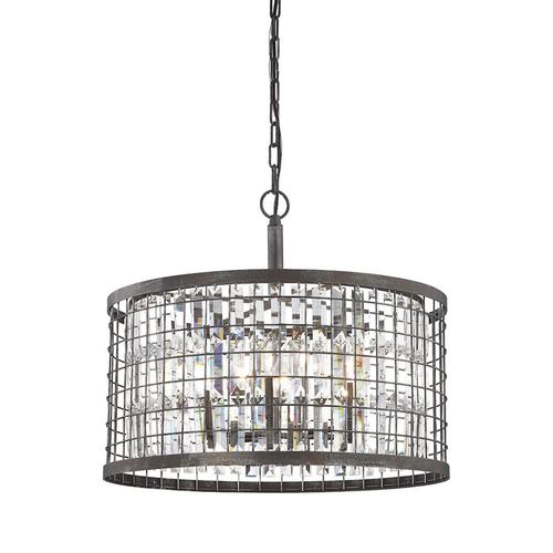 Nadina 6-Light Chandelier in Silverdust Iron with Clear Crystal Inside Wire Cage