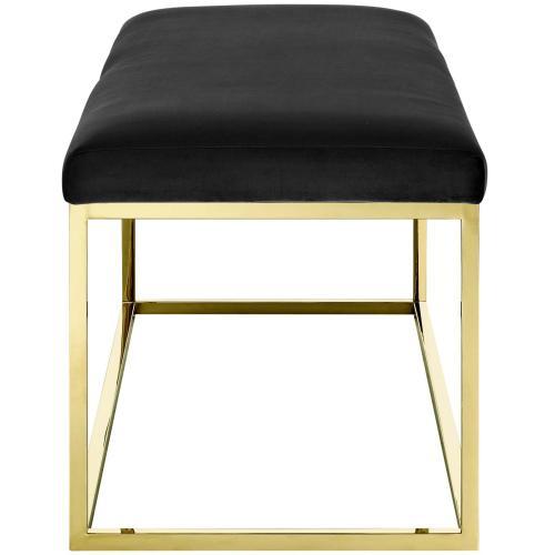 Anticipate Fabric Bench in Gold Black