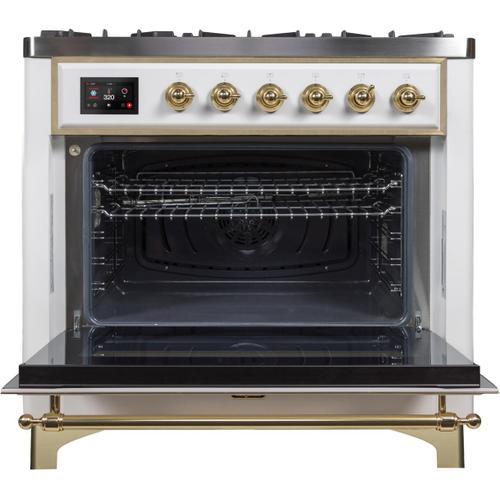 Ilve - Majestic II 36 Inch Dual Fuel Liquid Propane Freestanding Range in White with Brass Trim
