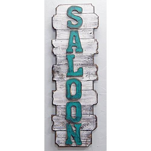 Vertical White Back Turq Letter Saloon