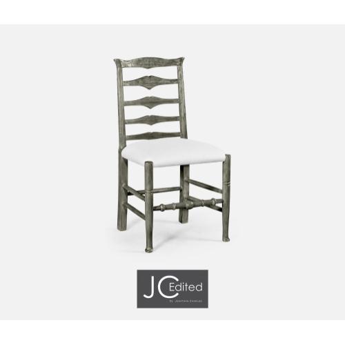 Antique Dark Grey Ladder Back Side Chair, Upholstered in COM