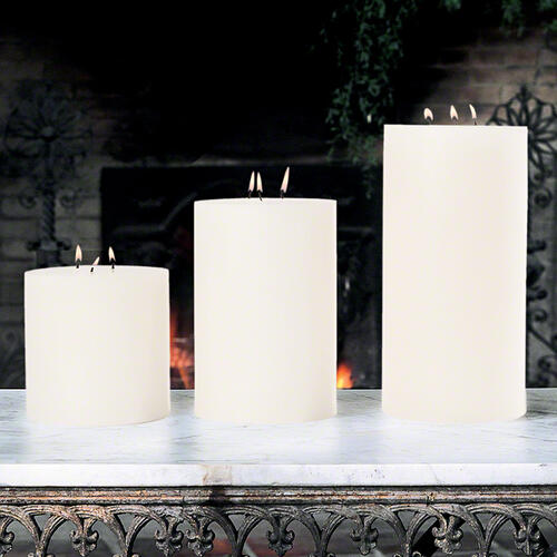 3 Wick Pillar Candle-Unscented-6 x 12