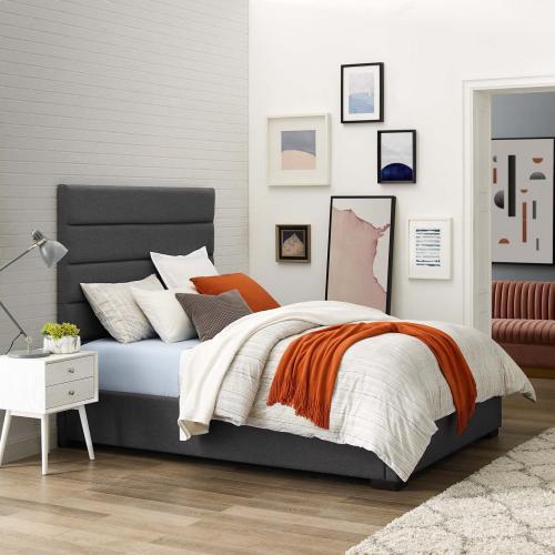 Genevieve Queen Upholstered Fabric Platform Bed in Gray