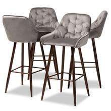 See Details - Baxton Studio Catherine Modern and Contemporary Grey Velvet Fabric Upholstered and Walnut Finished 4-Piece Bar Stool Set