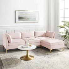 Ardent 4-Piece Performance Velvet Sectional Sofa in Pink