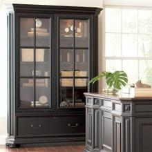 See Details - Allegro - Sliding Door Bookcase - Burnished Cherry/rubbed Black Finish