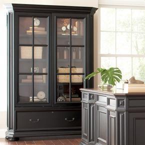 Allegro - Sliding Door Bookcase - Burnished Cherry/rubbed Black Finish