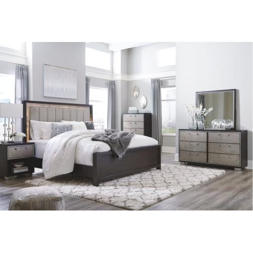 King Upholstered Panel Bed With Mirrored Dresser